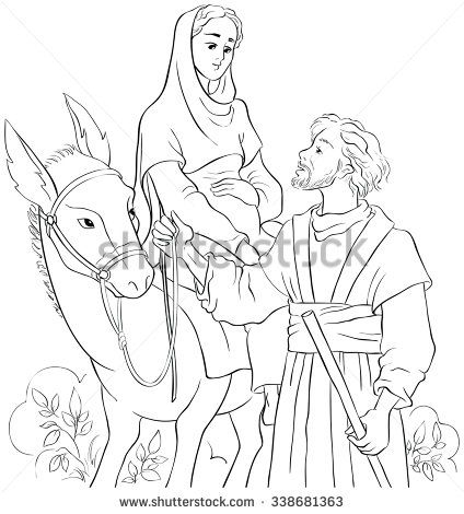Mary And Joseph Traveling To Bethlehem Coloring Page Also