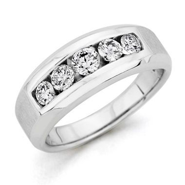 0 96 Ct T W Men S 5 Stone Diamond Ring In 14k White Gold H I
