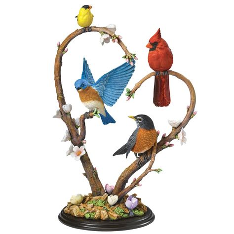 """Spring Quartet"" -- [Crafted of cold-cast porcelain & artfully hand painted in true-to-nature colors, from the warm orange of the Bluebird's breast to the brilliant crimson of the Cardinal & the Robin's dark head. The realistic hues of the cherry blossoms and the green foliage on the branch. [from The Danbury Mint]'h4d'120815"