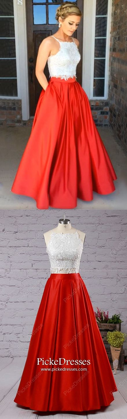 ddfa862dd775 Red Prom Dresses Long, Ball Gown Evening Dresses Two Piece, Open Back  Military Ball