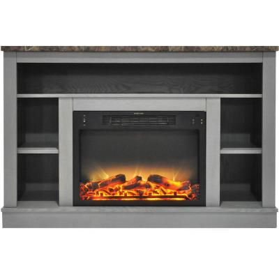 Cambridge 47 In Electric Fireplace With Enhanced Log Insert And Gray Mantel Cam5021 1grylg2 The Home Depot Fireplace Heater Fireplace Heater Tv Stand Electric Fireplace