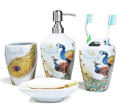 5pcs Irregular Bathroom Accessories Set Ceramic Soap Dish Dispenser Tumblers New