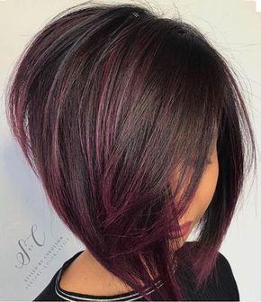 Dunkles Haar Bob Highlights Dunkel Profiliert Haarschnitt Bob Bob Frisur Haarfarben