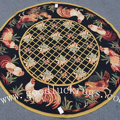 8 Round French Country Rooster Hen Wool Needlepoint Black Area Rug Newly Made