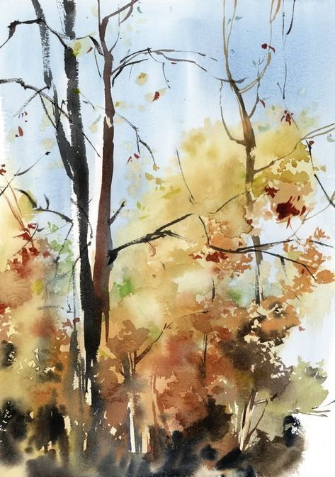 Autumnal Tress Original Watercolor Painting Modern Watercolour