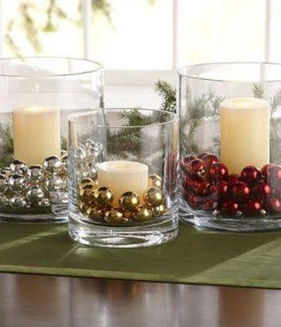 christmas decordiy  glass vases candles  jingle bells
