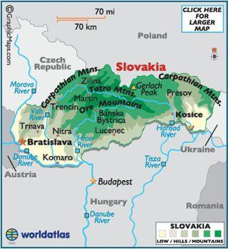 Mapa De Eslovaquia Eslovaquia Eslovenia Paises En Europa