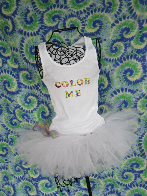 Runners Love Tutus Color Run Inspired Custom Racing Tank and Pixie Length (9 inch) Tutu. $41.95, via Etsy.