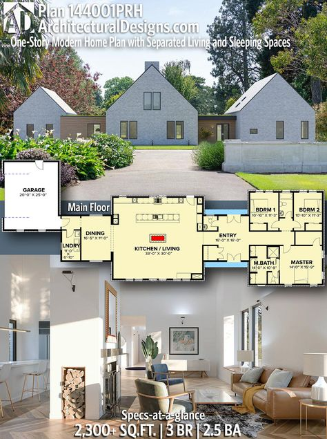 Our Ultra Modern One Story House Plan 144001PRH gives you 2,300+ square feet of living space with 3 bedrooms and 2.5 baths. AD House Plan #144001PRH #adhouseplans #architecturaldesigns #houseplans #homeplans #floorplans #homeplan #floorplan #floorplans #houseplan