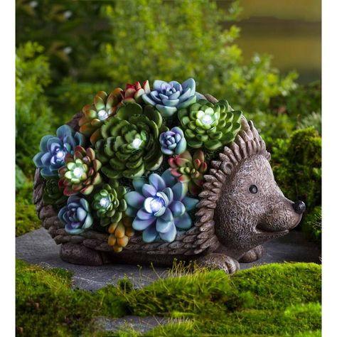 Garden Statues, Rabbit Garden, Plants, Outdoor Decor, Colorful Succulents, Container Gardening, Garden, Garden Art, Garden Accents