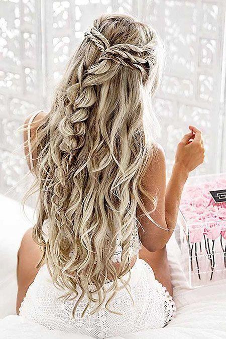 29 Lange Lockige Prom Frisuren Frisuren Fur Konfi Pinterest Perfektes Haar Frisur Hochzeit Geflochtene Frisuren Flechtfrisuren