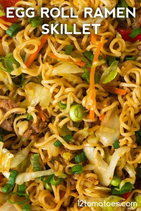 Egg Roll Ramen Skillet - Quick, easy, and the best of both worlds. Ramen Recipes, Pork Recipes, Asian Recipes, Chicken Recipes, Cooking Recipes, Healthy Recipes, Healthy Food, Chinese Noodle Recipes, Thai Recipes