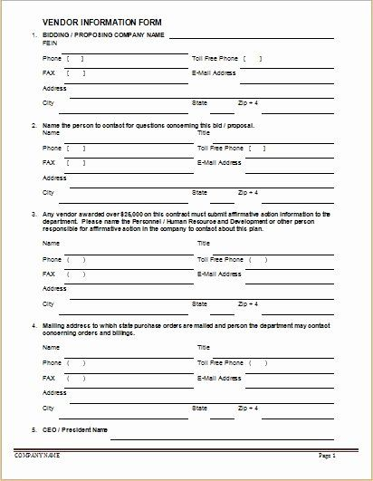 New Vendor Information Form Template Inspirational Vendor Information Forms Sample Template Templates Form Some Text