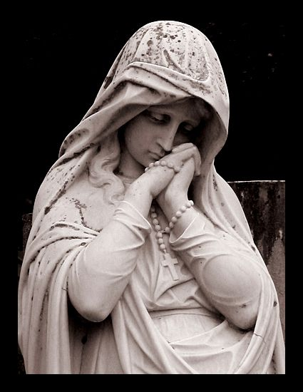 rosary by DivineCranium on DeviantArt Cemetery Statues, Cemetery Art, Angel Statues, Religious Tattoos, Religious Icons, Religious Art, Ancient Greek Sculpture, Greek Statues, Mary Tattoo