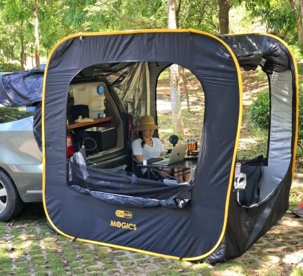 This Instant Pop Up Car Tent Attaches To The Tailgate Of Your Suv Or Minivan Car Tent Car Tent Camping Tailgate Tent