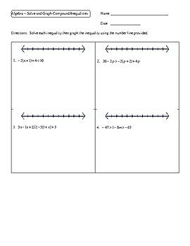 Algebra Solve And Graph Compound Inequalities Worksheet Compound