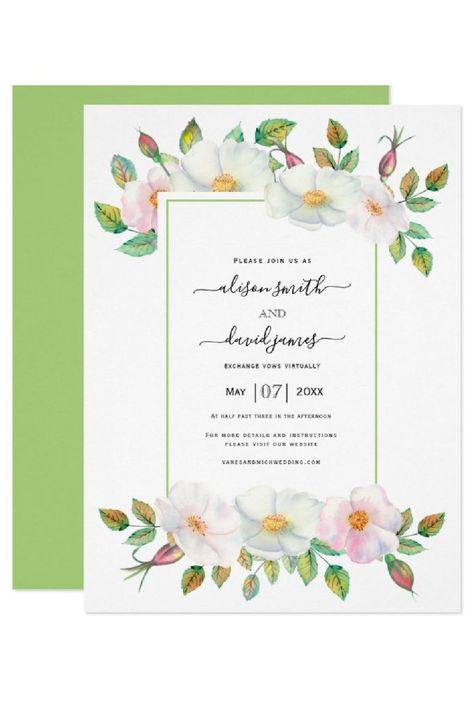 White and blush pink wild rose green floral virtual wedding invitation. #invitation #virtualwedding #wedding #floral #wildroses #green #blush