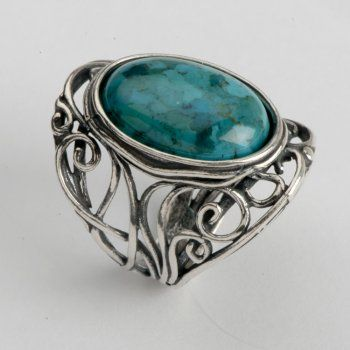 Shablool Israel Sterling Silver Ring Oval Turquoise Blue Green Ladies WomenSterling Silver Open Curly Waves Band Ring With A Sublime Oval Turquoise Stone Model