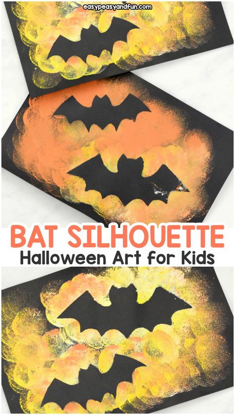 Bat-Silhouette-Halloween-Art-and-Craft-for-Kids Bat-. - Bat-Silhouette-Halloween-Art-and-Craft-for-Kids Bat-Silhouette-Hallowee - Halloween Kunst, Halloween Art Projects, Theme Halloween, Halloween Arts And Crafts, Fall Art Projects, Halloween Crafts For Kids, Projects For Kids, Halloween Crafts Kindergarten, Toddler Art Projects