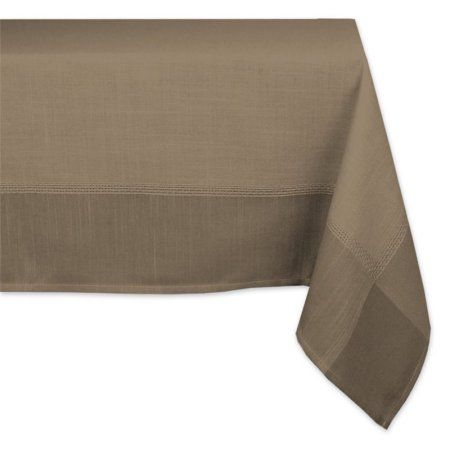 Poly Border Brown Tablecloth 60 X 120 Inch, Seats 10 12