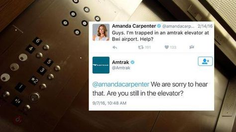 Amtrak asks woman if she's still trapped in elevator months later Read more Technology News Here --> http://digitaltechnologynews.com  For Amanda Carpenter getting trapped in an elevator was a nightmare.   Back in February the former communication director for Sen. Ted Cruz found herself in an unfavorable situation: she was trapped in an Amtrak elevator at BaltimoreWashington International Airport.   In an attempt to free herself from the commuter prison Carpenter tweeted to her 90000…