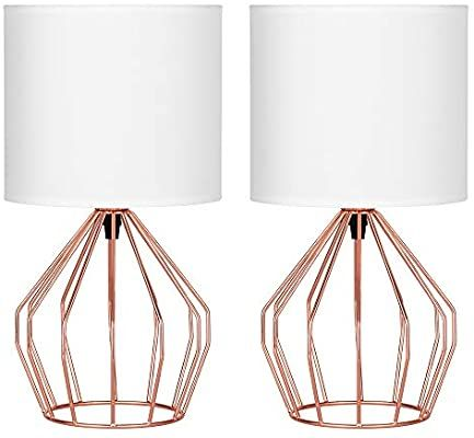 Haitral Rose Gold Table Lamps Set Of 2 Minimalist Bedside Lamp Modern Basket Cage Style Chrome Metal Base Wit In 2020 Gold Table Lamp Rose Gold Lamp Gold Lamp Shades