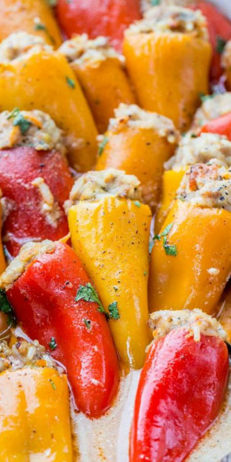 Juicy and tender stuffed mini bell peppers with a hearty rice and ground meat filling making with BEST homemade stuffed mini peppers. #valentinascorner #stuffedminipeppers #peppers #stuffedpeppers #beefricefilling #dinner