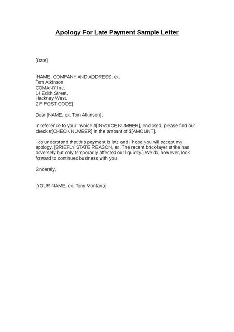 Apology For Late Payment Sample Letter Business Letters - employment verification letter