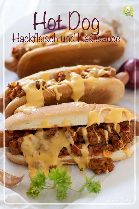 Hot Dog mit Hackfleisch und Käsesauce - Meine Stube #schnellerezeptemittagessen Rezept für einen mega Hot Dog mit Hackfleisch und Käsesauce. Mehr als nur Fingerfood und nur für den guten Hunger. Denn er macht sehr satt und deswegen ein  alternatives Mittagessen - Meine Stube #rezept #hotdog #fingerfood #mittagessen