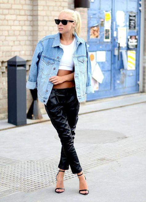 Today's Outfit  #Leather #Pants #Bleached #Denim #Jackets #Bustiers & Bras#icsa.cc#lingerie bustiers#lingerie