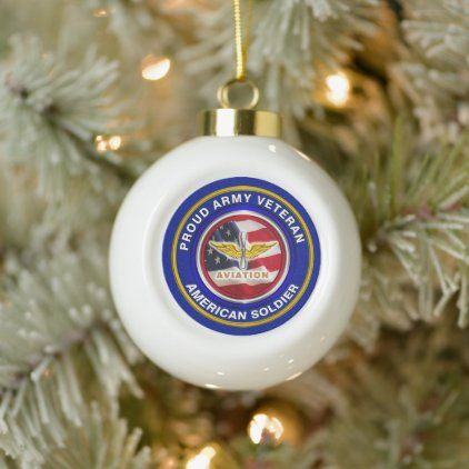 Veterans Christmas  2020 Army Aviation Veteran Christmas Ceramic Ball Christmas Ornament