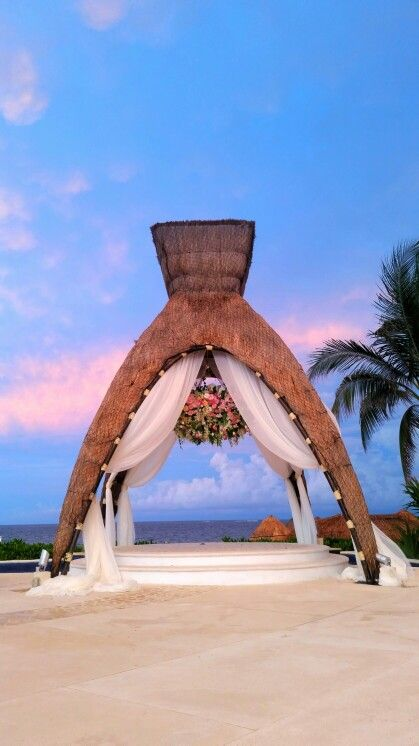 Floral Chandelier And Sheers At DreamsRivieraCancun Mexico Destinationwedding