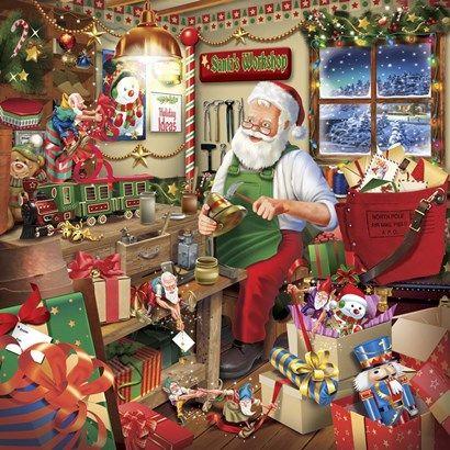 Santa Factory 2 By Ratru Santas Workshop Christmas Scenes Party Napkins