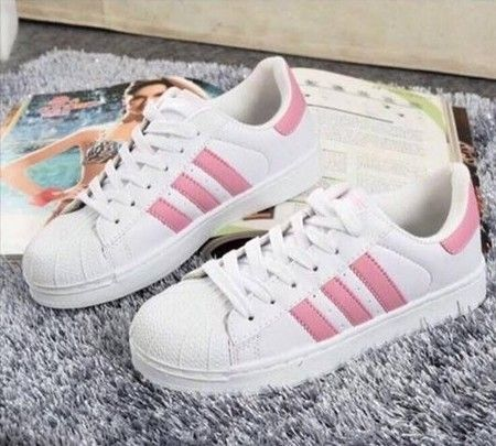 Adidas Superstar Feminino Branco Rosa Com Imagens