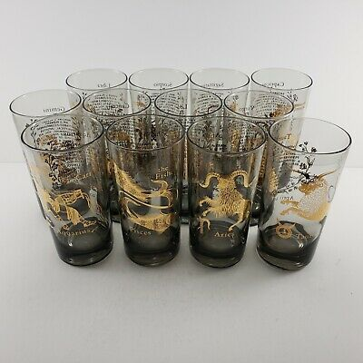 Zodiac Smoked Drinking Glasses Vintage Set Of 12 Each With Image Dates More Mcm Ebay