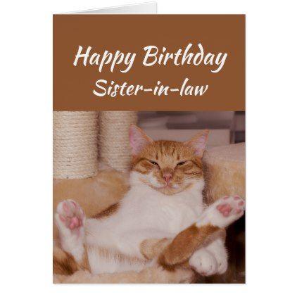 Happy Birthday Sister In Law Celebrate Funny Cat Card Zazzle Com
