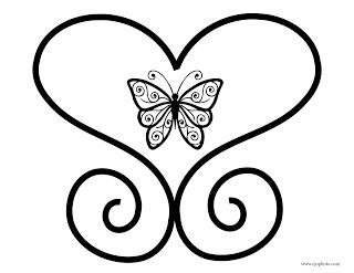 Butterfly In Heart Coloring Page Heart Coloring Pages Coloring