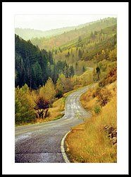 Poster Print Wall Art Print entitled Curved mountain road with autumn trees in Cascade Springs.