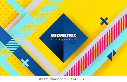 Hipster Modern Geometric Abstract Background Bright Yellow Banner
