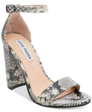 3f03eec50ed Steve Madden Women s Carrson Ankle-Strap Dress Sandals - Natural Snake 7.5M