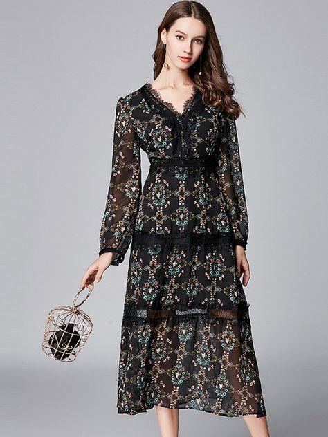 1e81ec2464d9 Floral Printing V-Neck Long Sleeves Plus Size Dresses