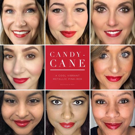 Candy-Cane LipSense is a beautiful metallic red with a pink undertone. Gorgeous lip color for the holidays! Candy cane LipSense selfies