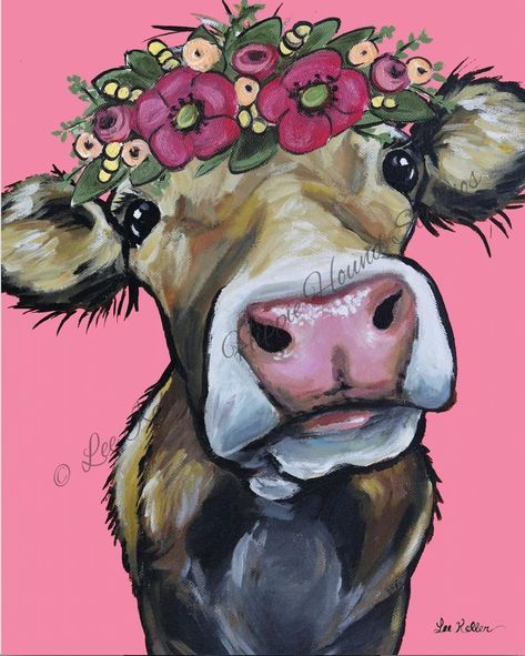 Cow art print from original canvas cow painting. Cow with | Etsy