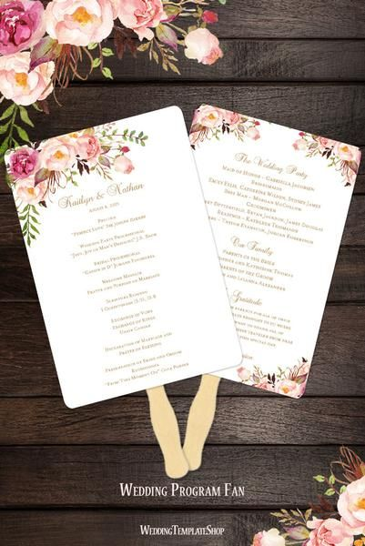 Make Your Own Fan Programs With These Easy To Edit Watercolor Illustration Printable Templates There Ar Wedding Fans Wedding Program Fans Diy Wedding Programs