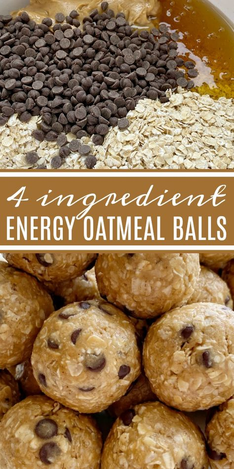 Energy Oatmeal Balls require only 4 ingredients Quick oats peanut butter honey and mini chocolate chips are all you need for these perfect snack-sized energy oatmeal balls snackrecipes easyrecipes recipeoftheday energyballs oatmeal Breakfast Recipes, Snack Recipes, Dessert Recipes, Cooking Recipes, Oats Recipes, Quick Oat Recipes, Healthy Oat Recipes, Peanut Butter Healthy Snacks, Healthy Chocolate Snacks