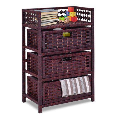 Home Wicker Basket Storage Unit
