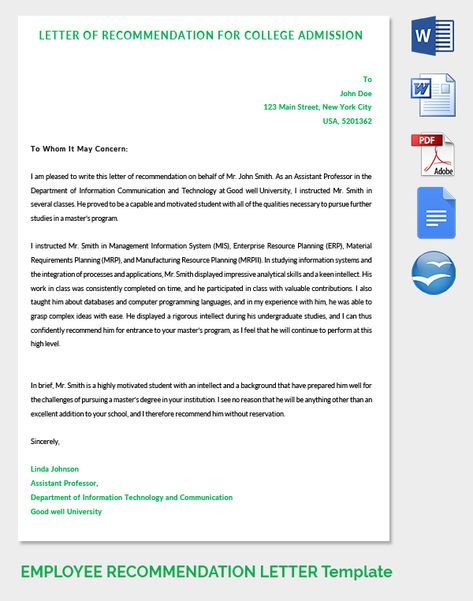 Letter of Recommendation for College Admission LEVAN Pinterest - employee recommendation letter
