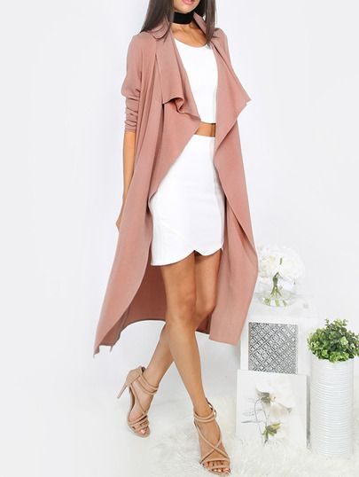 SheIn offers Coffee Lapel Tie Waist Long Sleeve Outerwear & more to fit your fashionable needs.