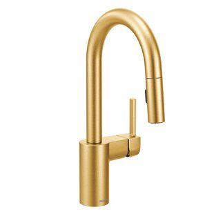 Moen Sto Pull Down Bar Faucet With Reflex System Wayfair Bar Faucets Gold Faucet Moen Kitchen Faucet