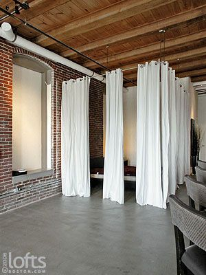 unfinished basement walls. running curtains on a wire  Basement 20 Clever and Cool Wall Ideas walls